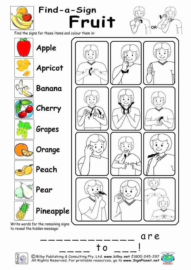 Sign Language Worksheets for Beginners Sign Language Worksheets