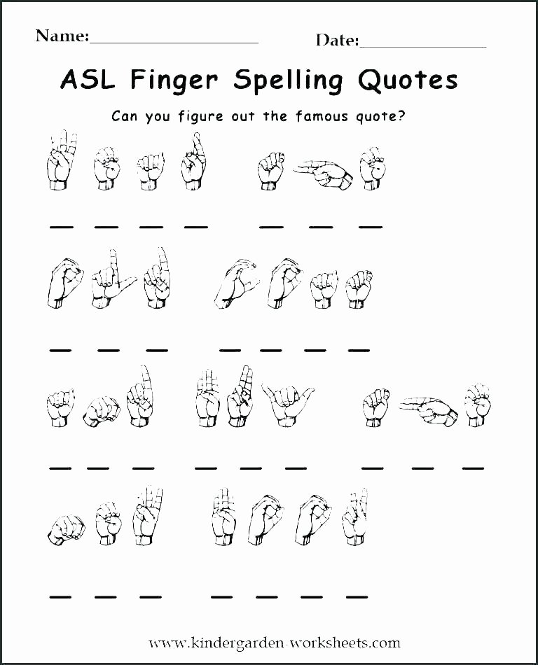 Sign Language Worksheets for Kids Free Sign Language Worksheets