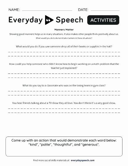Sign Language Worksheets for Kids Respect Worksheets for Kindergarten Good Manners Children