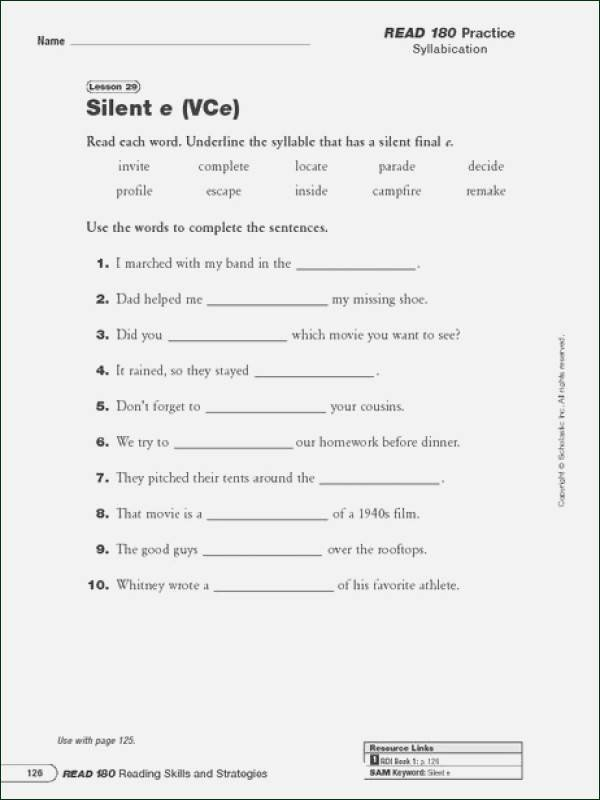Silent E Worksheet Syllable Worksheets