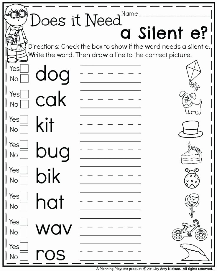 Silent E Worksheets Beautiful Worksheet 1st Grade Writing Practice Worksheets 1st Grade