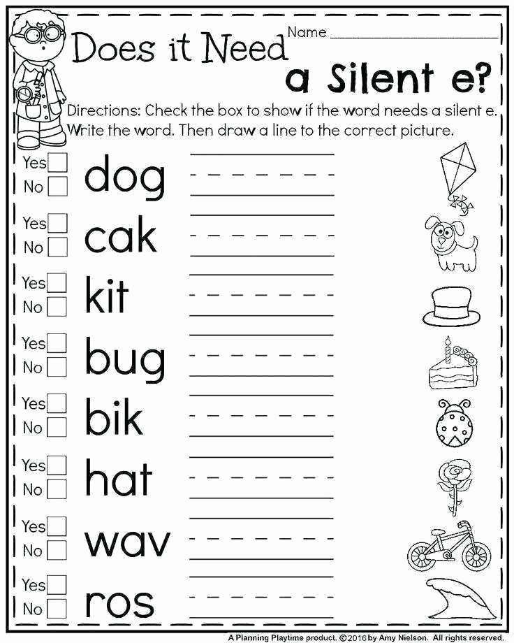 Silent E Worksheets for Kindergarten Long A Silent E Worksheets