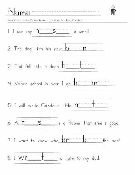 Silent E Worksheets for Kindergarten Phonics Worksheets First Grade Silent E 1 Free Library