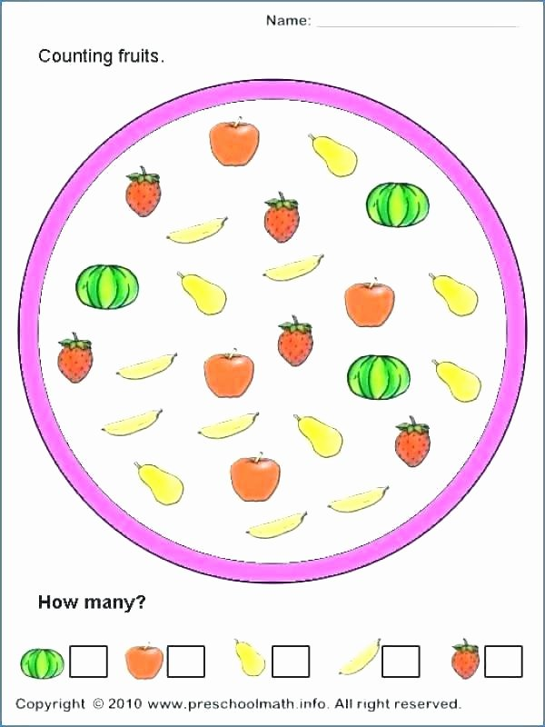 Simple Addition Worksheets for Kindergarten Counting Worksheets for Preschool
