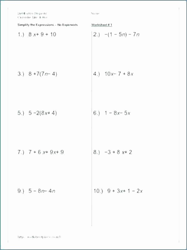 Simple Distributive Property Worksheet Distributive Property Worksheets 7th Grade Free