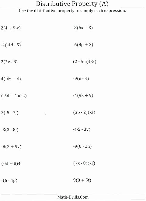Simple Distributive Property Worksheets Mon Core Distributive Property Worksheets