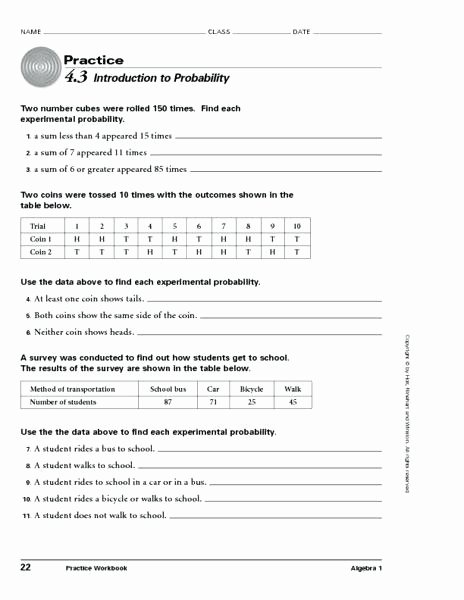 Simple Probability Worksheets Pdf 8th Grade Probability Worksheets Introduction to Worksheet