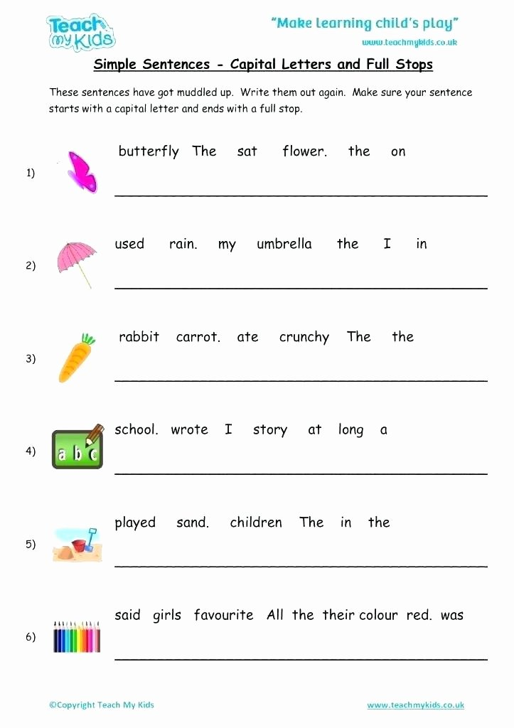 Simple Sentences Worksheet 3rd Grade Kids Sentences Worksheets for Kids Simple Sentences Cap Full