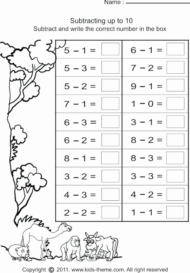 Simple Subtraction Worksheets for Kindergarten Beginning Subtraction Worksheets Worksheet Simple Free