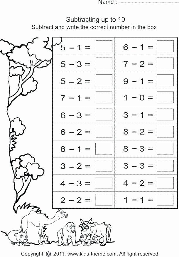 Simple Subtraction Worksheets for Kindergarten Beginning Subtraction Worksheets Worksheet Simple Free