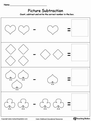 Simple Subtraction Worksheets for Kindergarten Kindergarten Picture Subtraction Worksheets