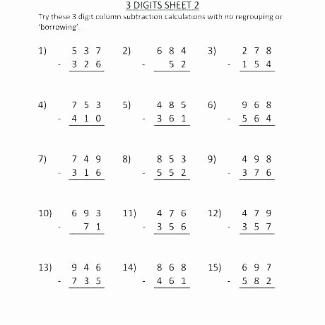 Single Digit Subtraction Drills 2 Digit Subtraction Worksheets Grade 1 Practice Fourth Math