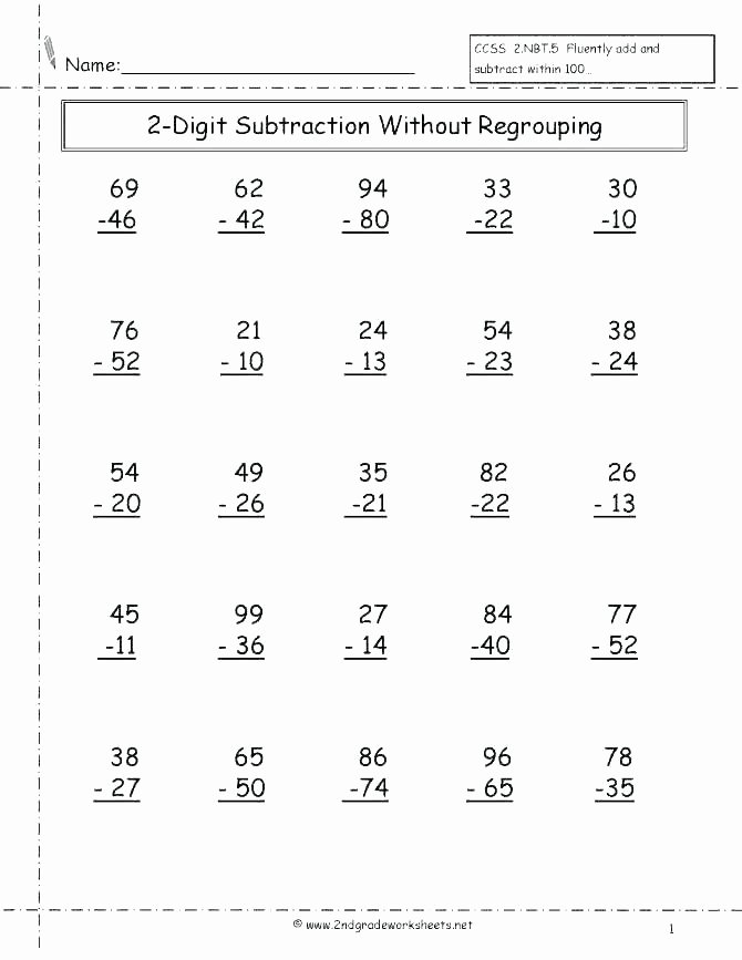 Single Digit Subtraction Drills Facts Worksheets