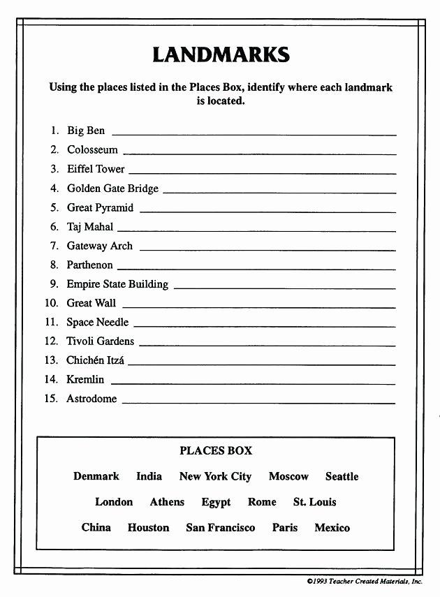 Sixth Grade social Studies Worksheets Grade social Stu S Worksheet Easy Second Worksheets