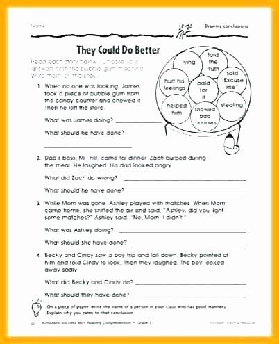 Social Inferences Worksheets Manners Worksheets for Middle School