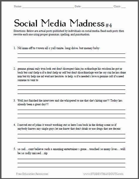Social Media Madness Worksheet Pinterest