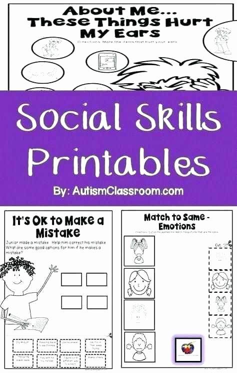 Social Skills Activities Worksheets social Stories Worksheets Free Printable New Skills for