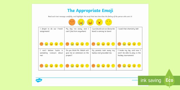 Social Skills Activities Worksheets the Appropriate Emoji Worksheet Worksheet social Skills