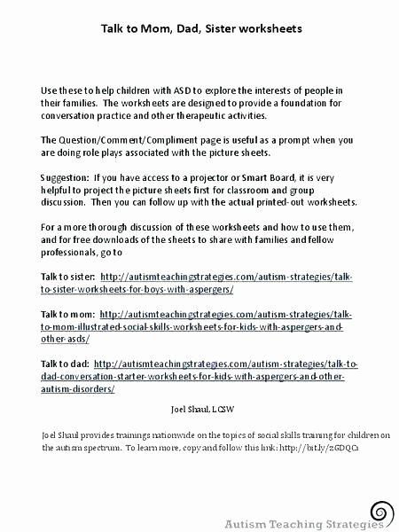 Social Skills Worksheets for Children Autism Printable Worksheets for Grade social Stu S