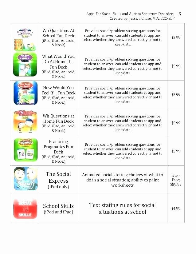 Social Skills Worksheets for Children Free Printable Autism Worksheets