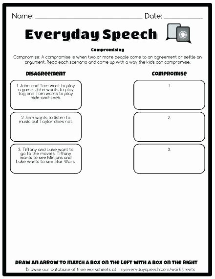 Social Skills Worksheets for Kindergarten Elementary social Skills Worksheets Scenarios for Free to