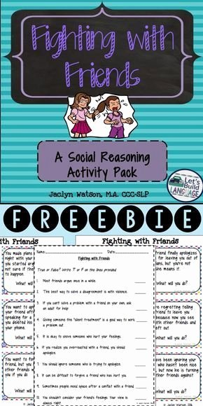 Social Skills Worksheets Free social Skills Problem solving Fighting with Friends