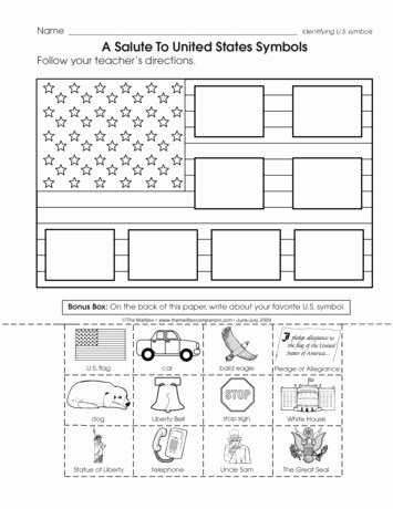 Social Studies Worksheet 1st Grade Fresh A Salute to United States Symbols Lesson Plans the