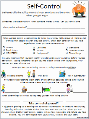 Social Work Worksheets Self Control is A Big issue with some Of My Students they