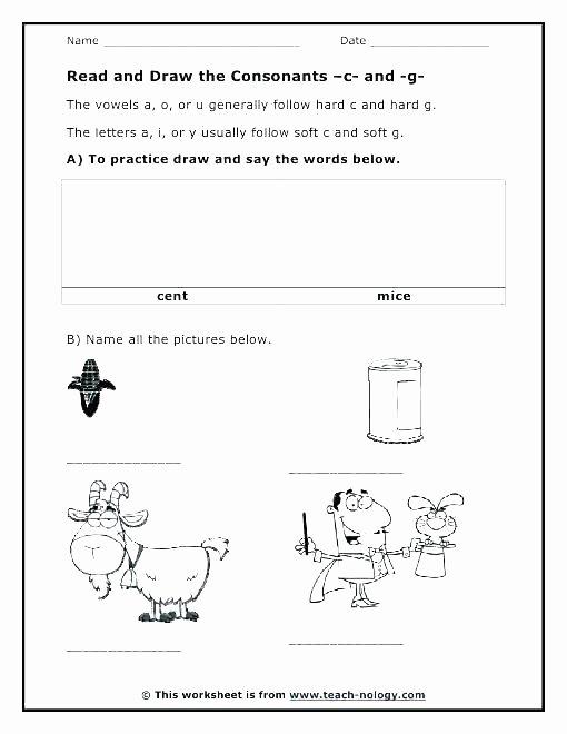Soft C and G Worksheets Rl 57 Worksheets Worksheets for 2nd Grade Math