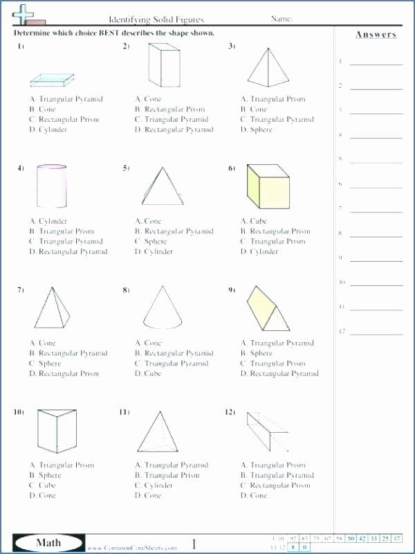 Solid Figures Worksheet Cylinder Worksheets for Kindergarten Shapes Worksheets