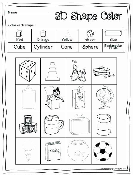 Solid Figures Worksheet Cylinder Worksheets for Kindergarten solid Shapes Worksheet