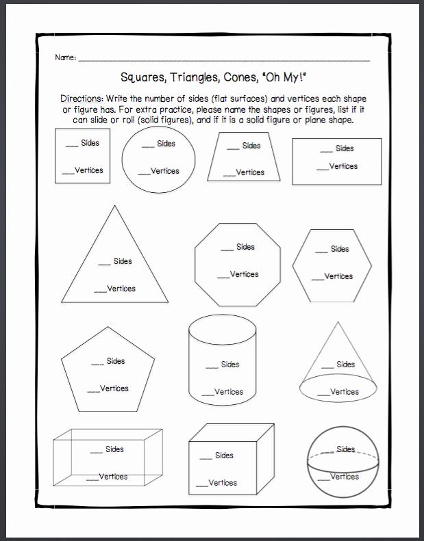 Solid Figures Worksheet Geometry Unit 1 Worksheets