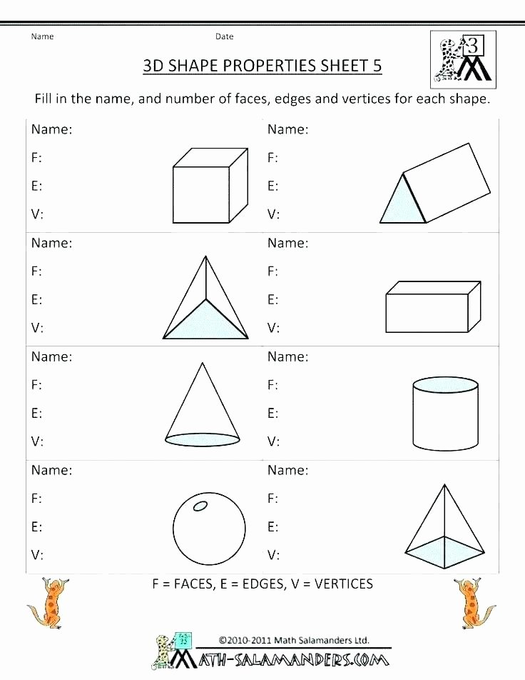 Solid Shapes Worksheets for Kindergarten 2d Shapes Worksheets Grade 5