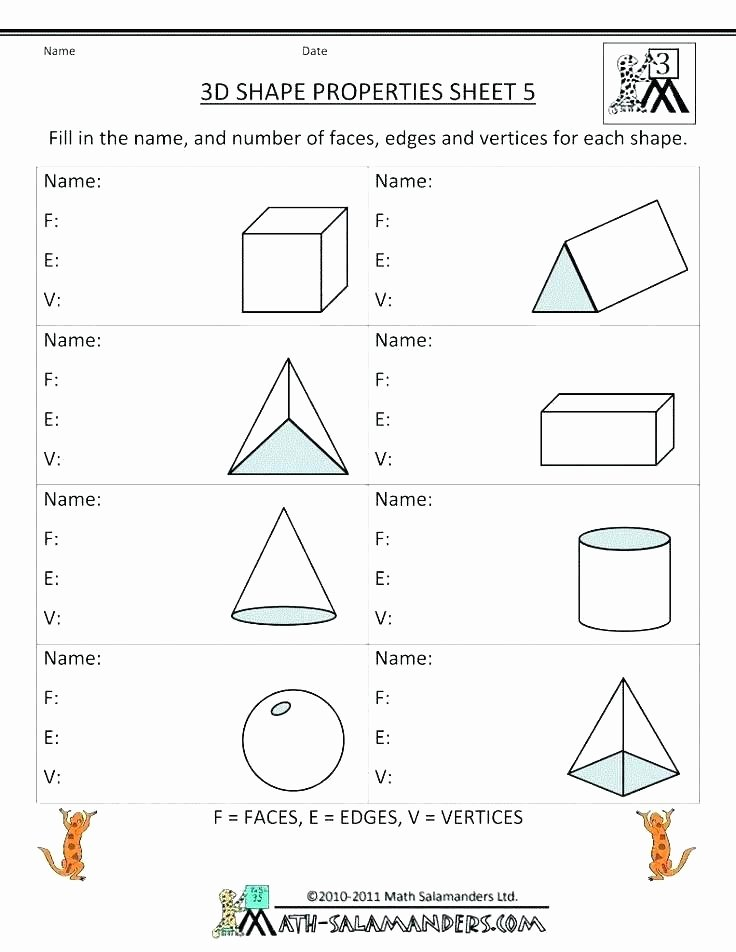 Solid Shapes Worksheets for Kindergarten 2nd Grade 2d Shapes Worksheets
