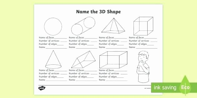 Solid Shapes Worksheets for Kindergarten 3d Shapes Printable Worksheets