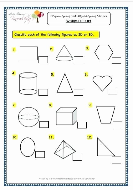 Solid Shapes Worksheets for Kindergarten 3d Shapes Worksheets for Grade 1