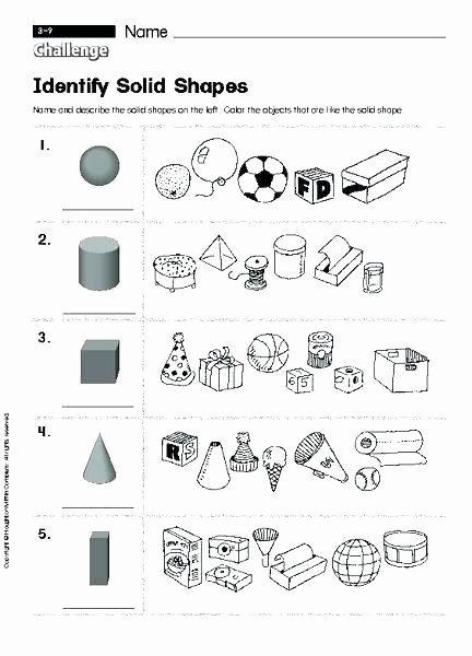 Solid Shapes Worksheets for Kindergarten Free Printable Math Shapes Download them Print