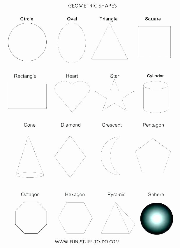 Solid Shapes Worksheets for Kindergarten Geometric Shapes Worksheets