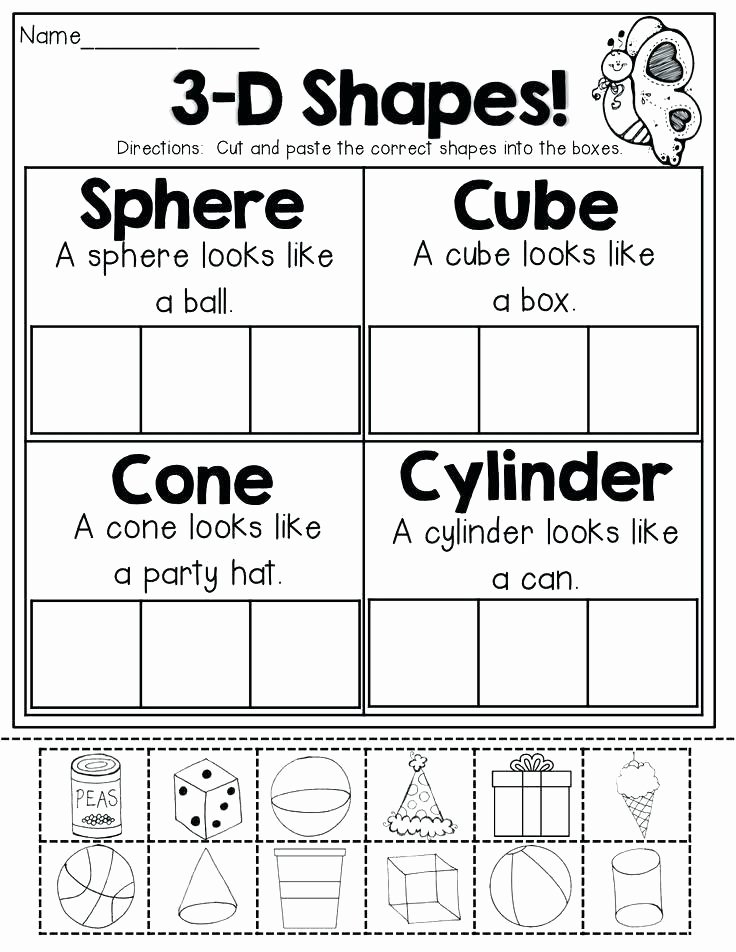 Solid Shapes Worksheets for Kindergarten Second Grade Shapes Worksheets