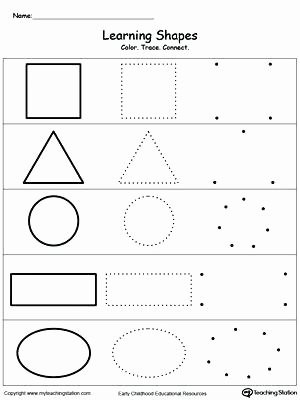 Solid Shapes Worksheets for Kindergarten Shapes for Kids Worksheets Learning Basic Shapes Color Trace