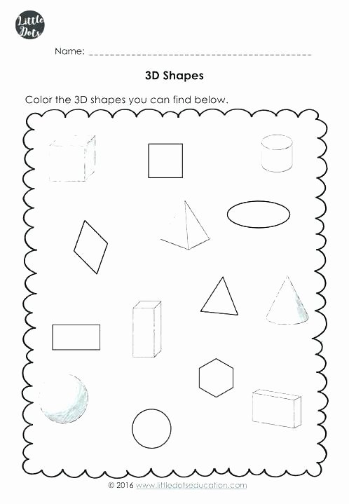 Solid Shapes Worksheets for Kindergarten Shapes Worksheets for Preschool