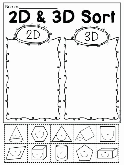 Sorting Shapes Worksheets First Grade Two Dimensional Shapes Worksheets Grade 2 for Kindergarten