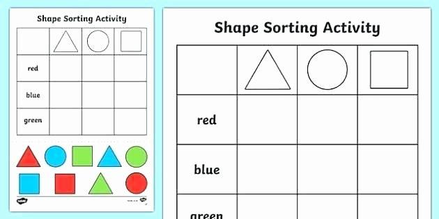 Sorting Shapes Worksheets for Kindergarten K Shapes Worksheets Kindergarten sorting Worksheet