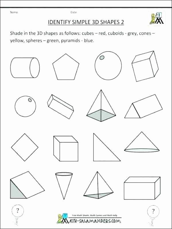 Sorting Shapes Worksheets for Kindergarten Shapes Worksheets Kindergarten 3 D sorting 3d Worksheet