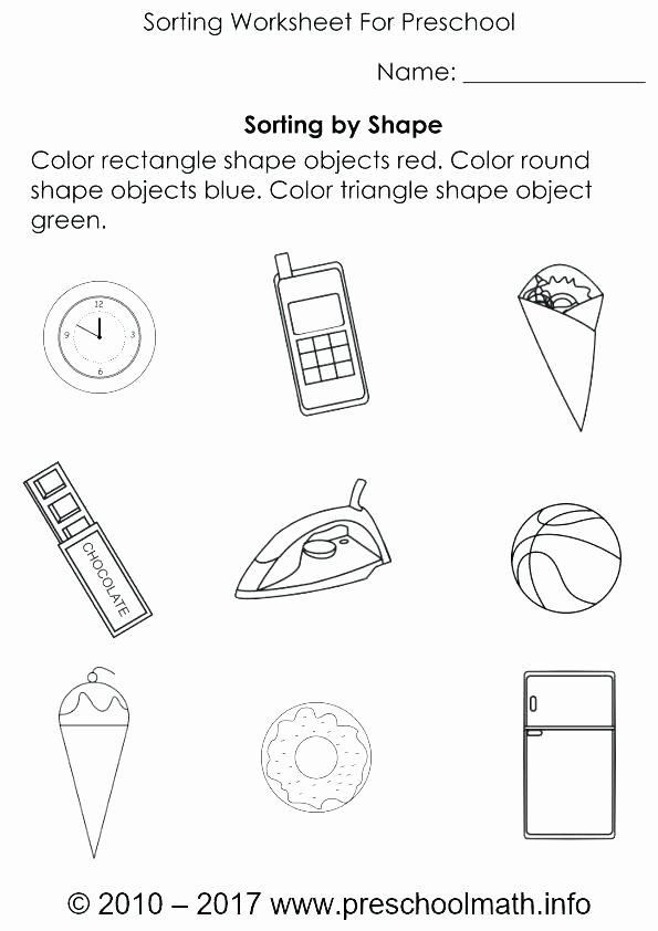 Sorting Shapes Worksheets for Kindergarten sorting Worksheets for Kindergarten