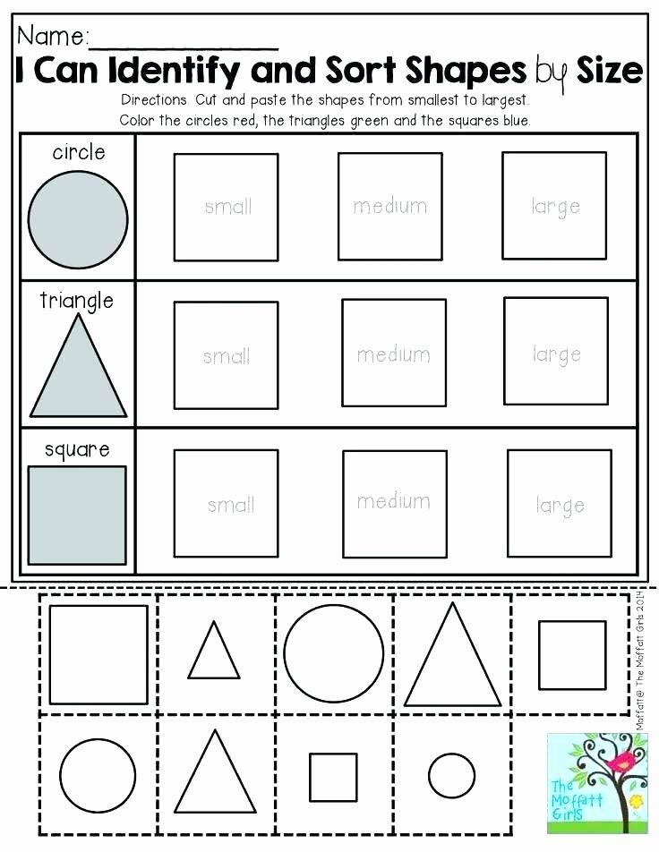 Sorting Shapes Worksheets for Kindergarten Tracing Shapes Worksheet Pleasant Free Tracing Shapes