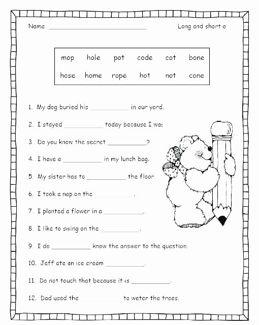 Sorting Worksheets for First Grade Long I Worksheets for Grade 1