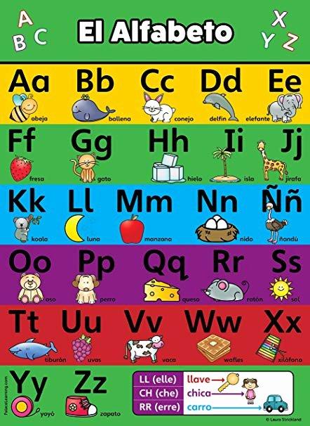 Spanish Alphabet Chart Printable Abc Alphabet Spanish Poster Chart Laminated Espa±ol Alfabeto Abecedario 18 X 24 Laminated