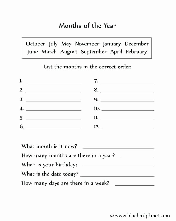 Spanish Months and Seasons Worksheets Free Printable Seasons Worksheets Best Months the Year