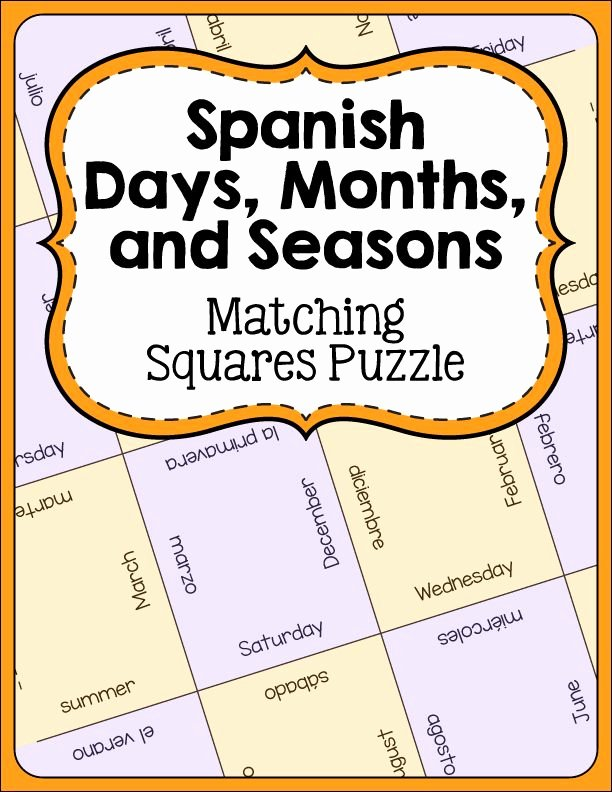 Spanish Months and Seasons Worksheets Spanish Days Months and Seasons Vocabulary Games